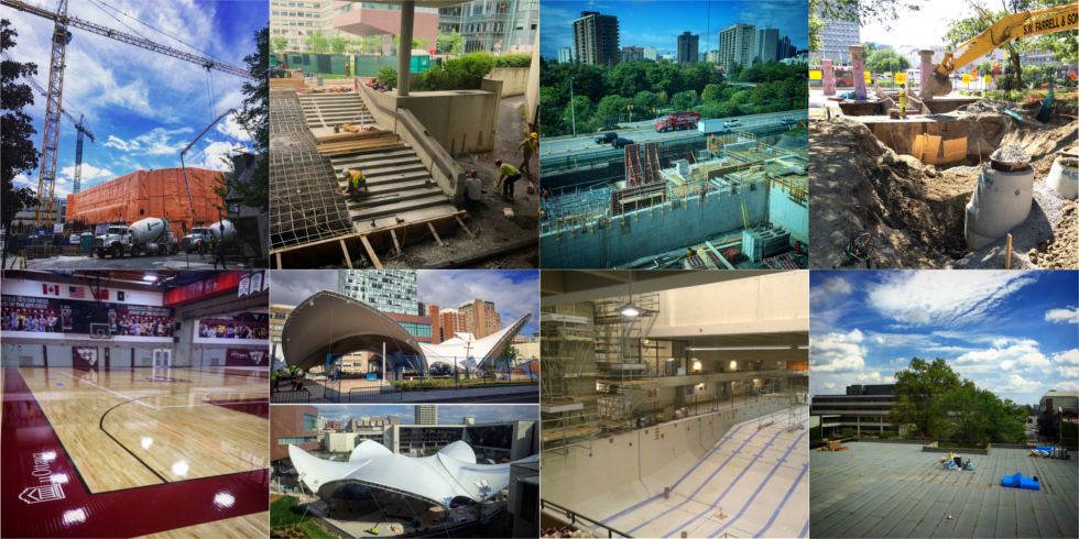 A grid of images depicting the construction in the summer of 2016