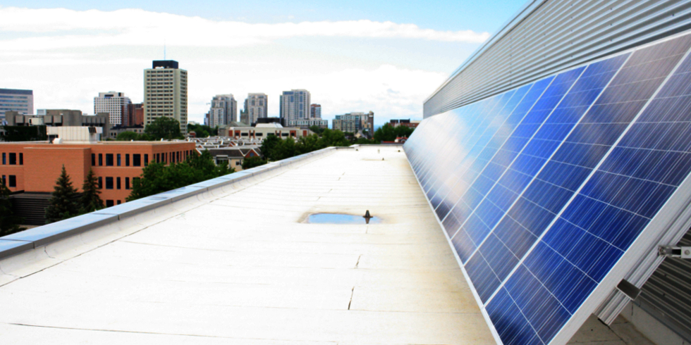 Image of solar panels on the roof of the ARC building