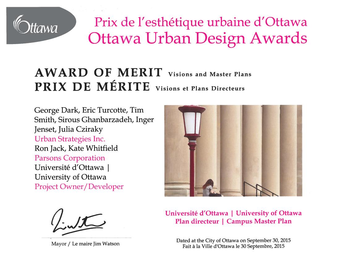 Ottawa Urban Design Award certificate