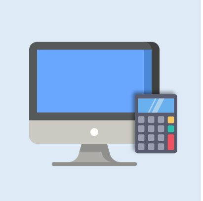 Accounting service portal logo - Computer with a calculator