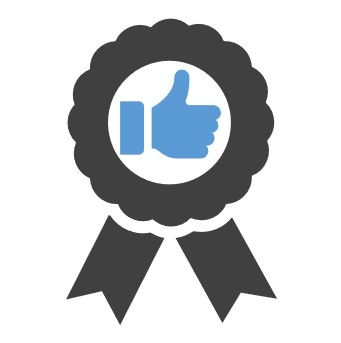 Icon showing a rosette and a thumb up in the middle to demonstrate best practices