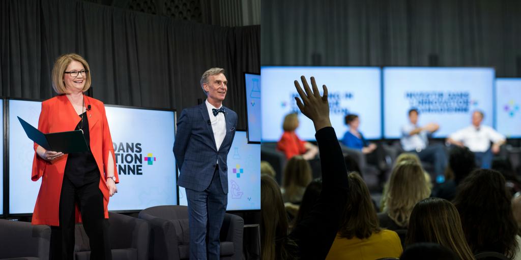 Une image de Kate Young et Bill Nye. Une image d'une main levée dans une foule.