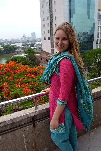 Rebecca Klaassen wearing a kurta and scarf.