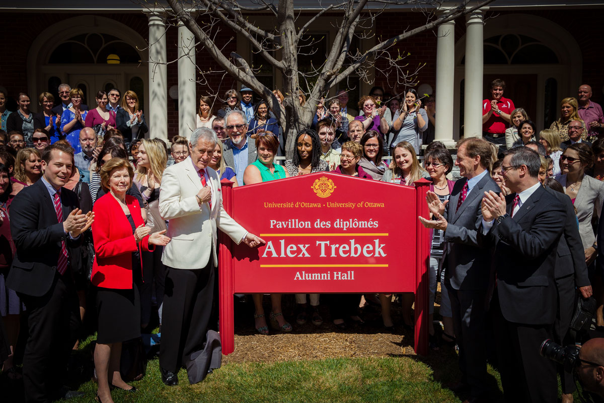Group photo at the inauguration of the Alex Trebek Hall