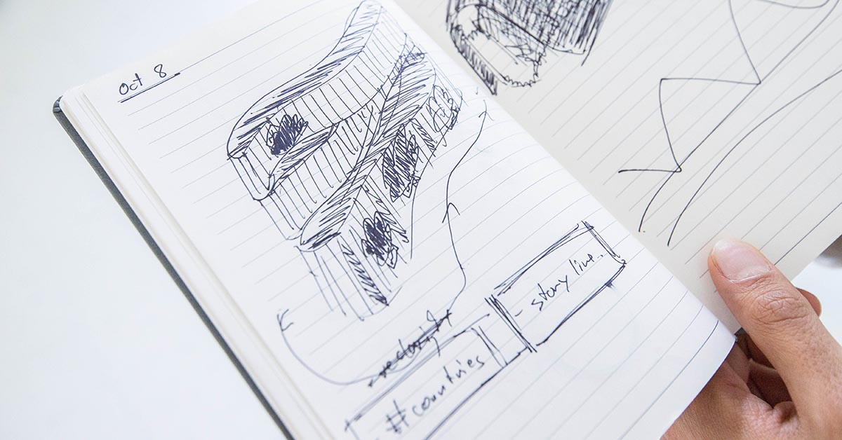 Page from a sketchbook dated October 8 showing a sketch of the art installation with the inscriptions