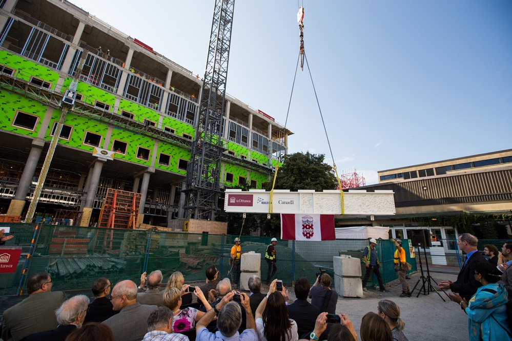 "The ""topping off"" ceremony for STEM Hall."