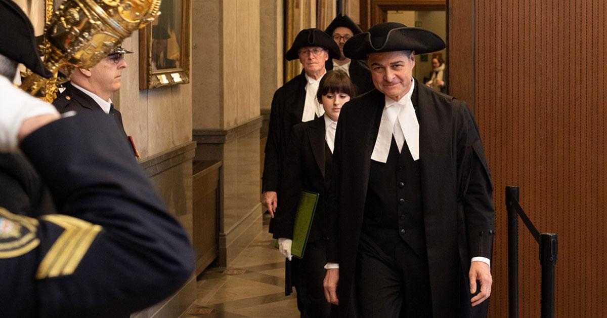 Anthony Rota en route pour la période des questions à la Chambre des communes.