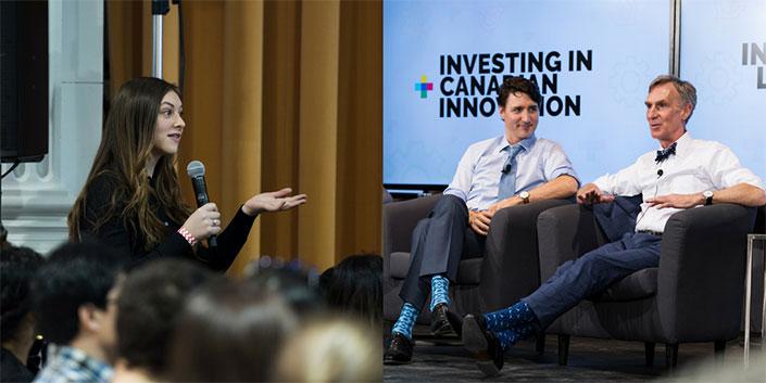 Une étudiante est dans une foule, elle tient un micro pour poser une question. Une deuxième image montre Justin Trudeau et Bill Nye.
