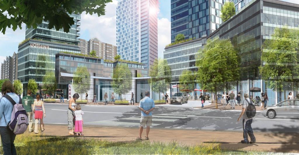 Master plan rendering of buildings on campus