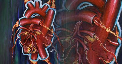 Peinture de style graffiti représentant un coeur humain