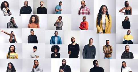 Mosaïque présentant les photos des participants et participantes à la série vidéo 28 Moments of Black Canadian History