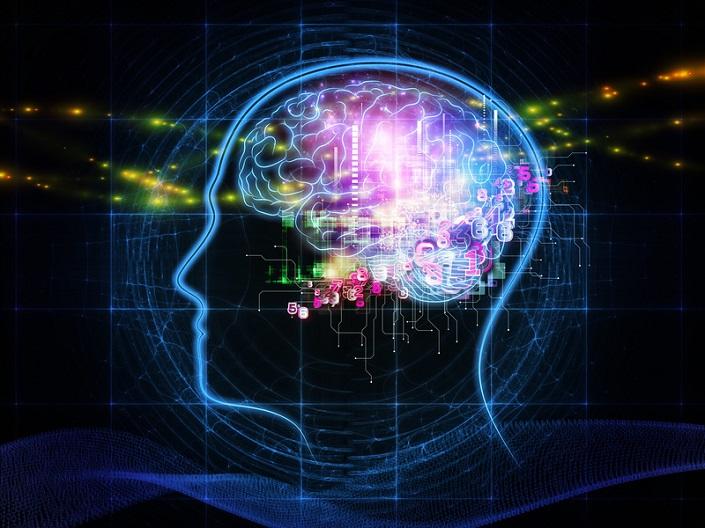 Artist's sketch of a human head with a brain inside it