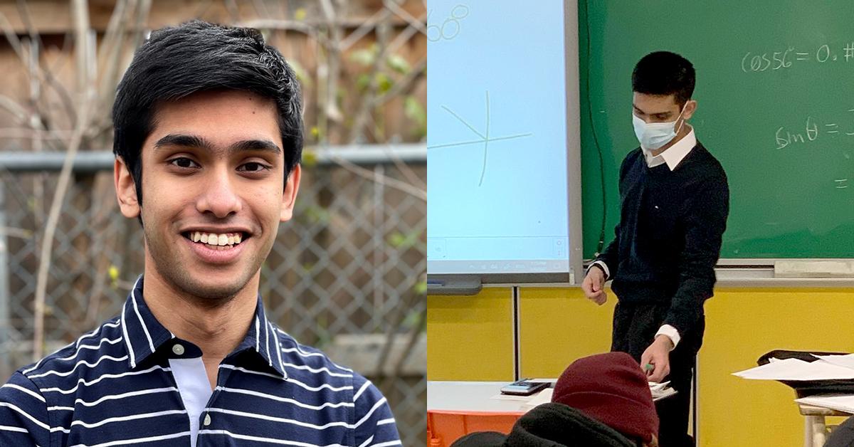 Le portrait de Affaan Ali, à gauche, et et lui en train de donner un cours de mathématiques, à droite.