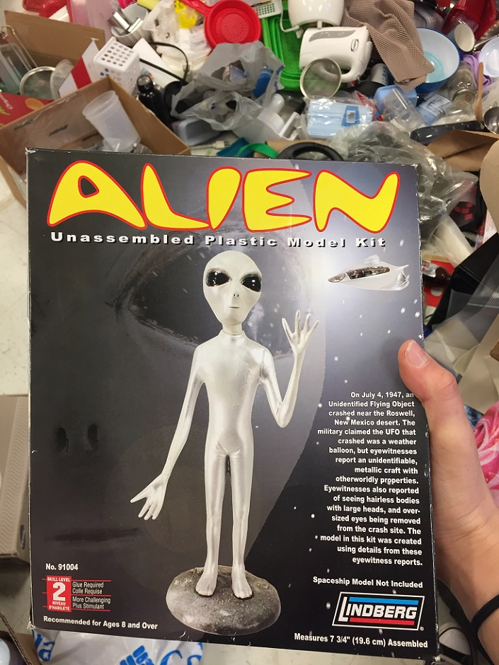 A model kit of an extraterrestrial with wide eyes.