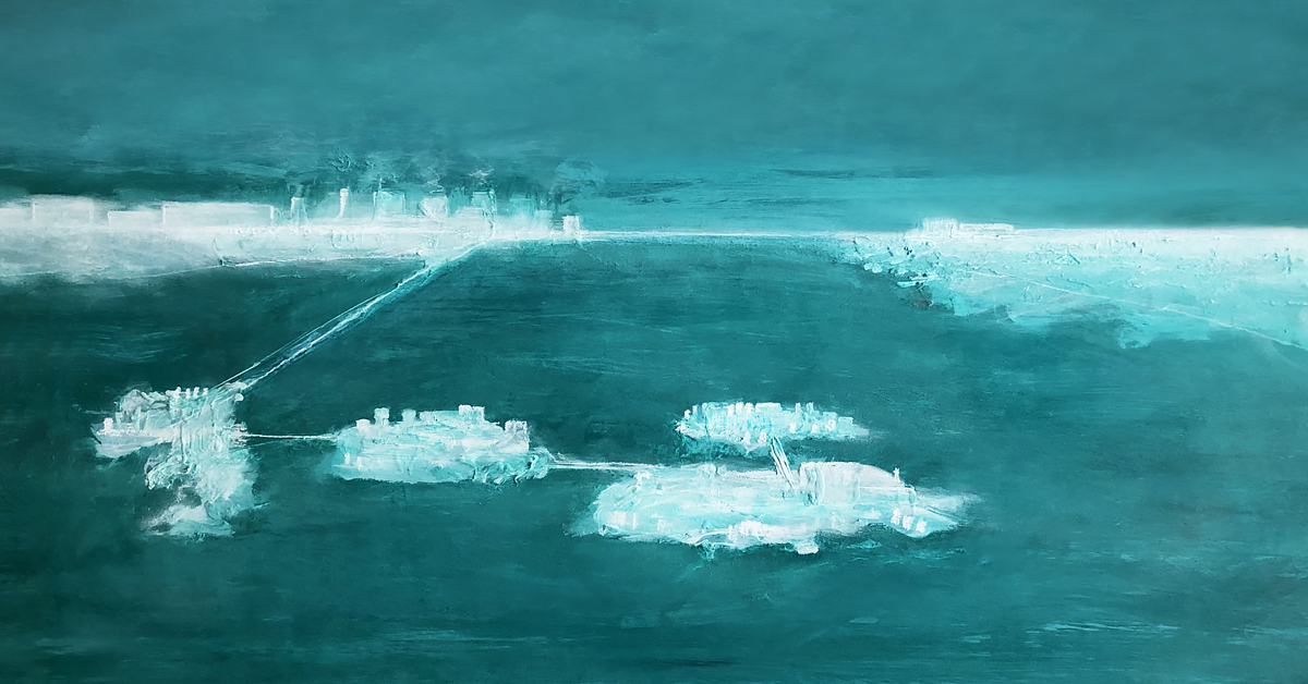 A painting in shades of turquoise and white representing a few areas of land interconnected on a body of water.
