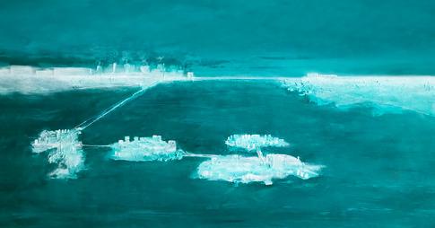 oeuvre peinte dans les tons de turquoise et blanc qui représente des étendues de terre interreliées sur une étendue d'eau