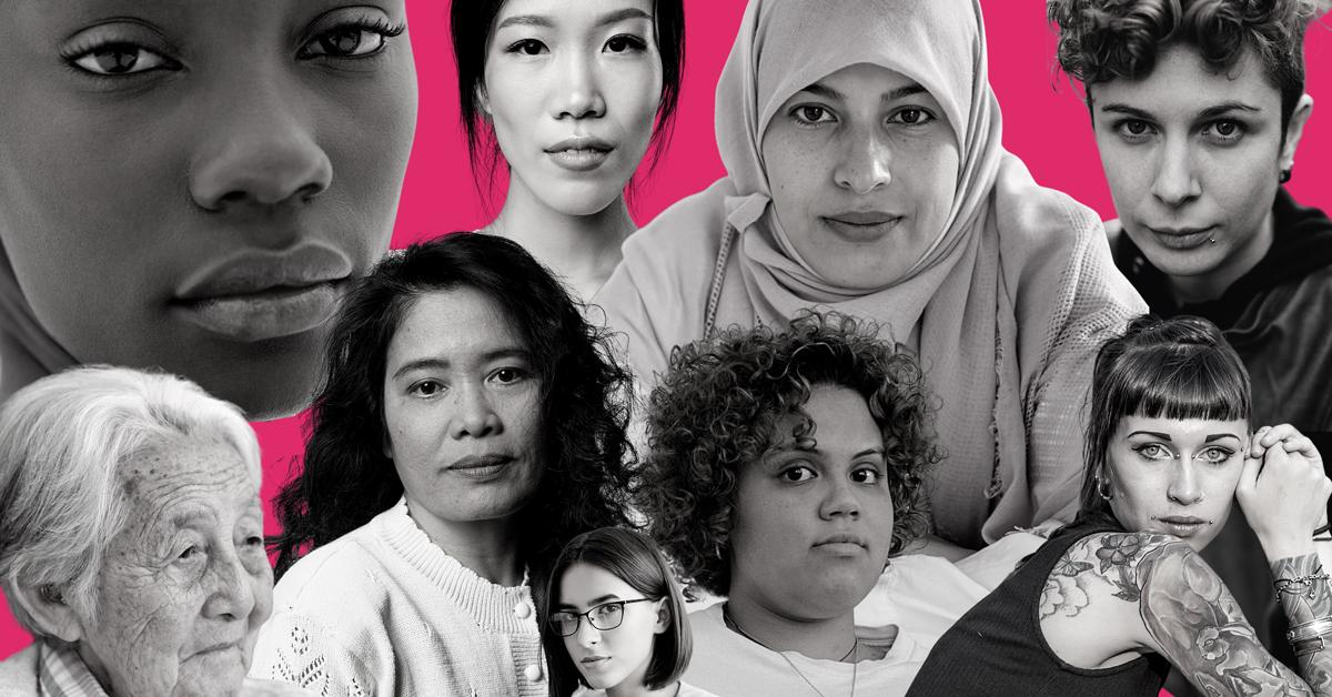 Collage de visages de femmes.