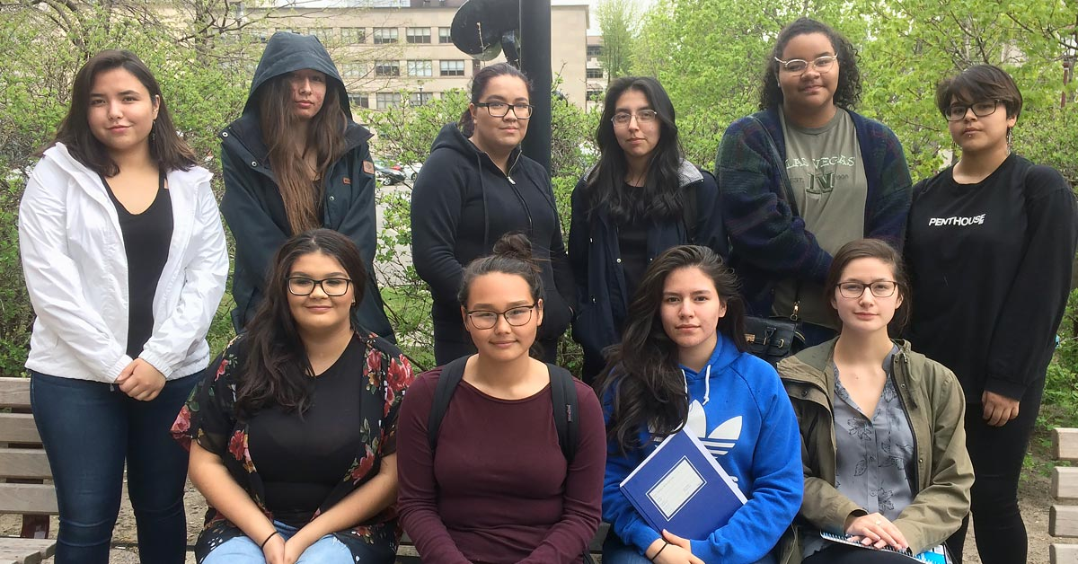 Group of 10 Indigenous women students from high schools.