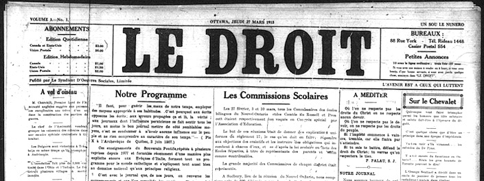 Cover page of Le Droit newspaper, 1913, presenting it's programme.