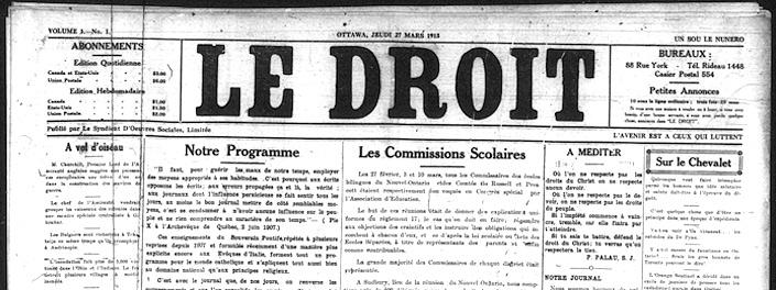 Page couverture du journal Le Droit, 1913, qui présente son programme.