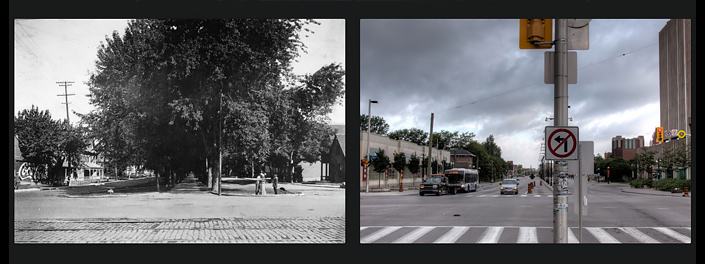 Before and after view of King Edward Avenue at Rideau intersection.