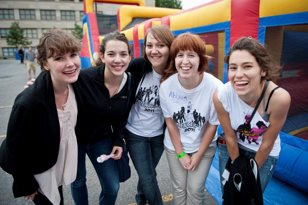 A group of students enjoying an event on campus.
