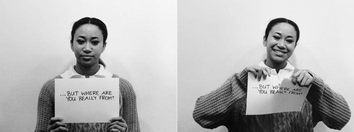 Deux photos juxtaposées montrent d'un côté une femme noire tenant une feuille de papier où on peut lire «Mais d'où viens-tu vraiment?» et de l'autre, la même femme qui déchire la feuille en souriant.