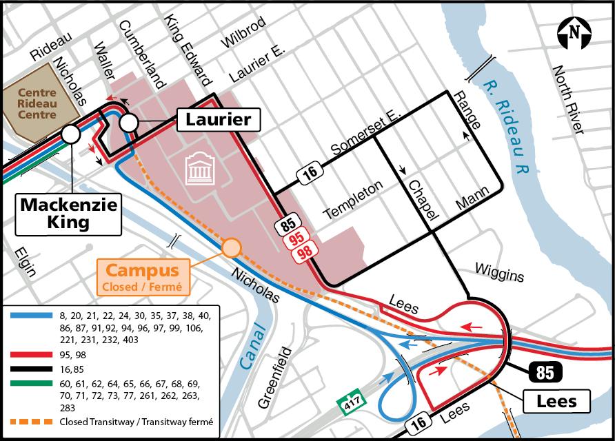 Une carte montrant l'itinéraire des lignes 85, 95 et 98 et les stations Laurier, Mackenzie King et Lees.