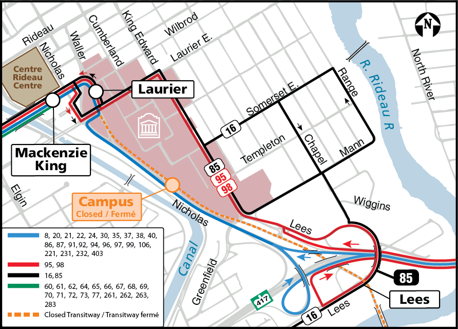A map showing bus routes for the Number 85, 95 and 98 buses with Laurier, Mackenzie King and Lees stations