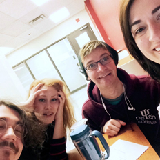 Theatre students Katy Raymond and Morgan Briault with two members of the production team.