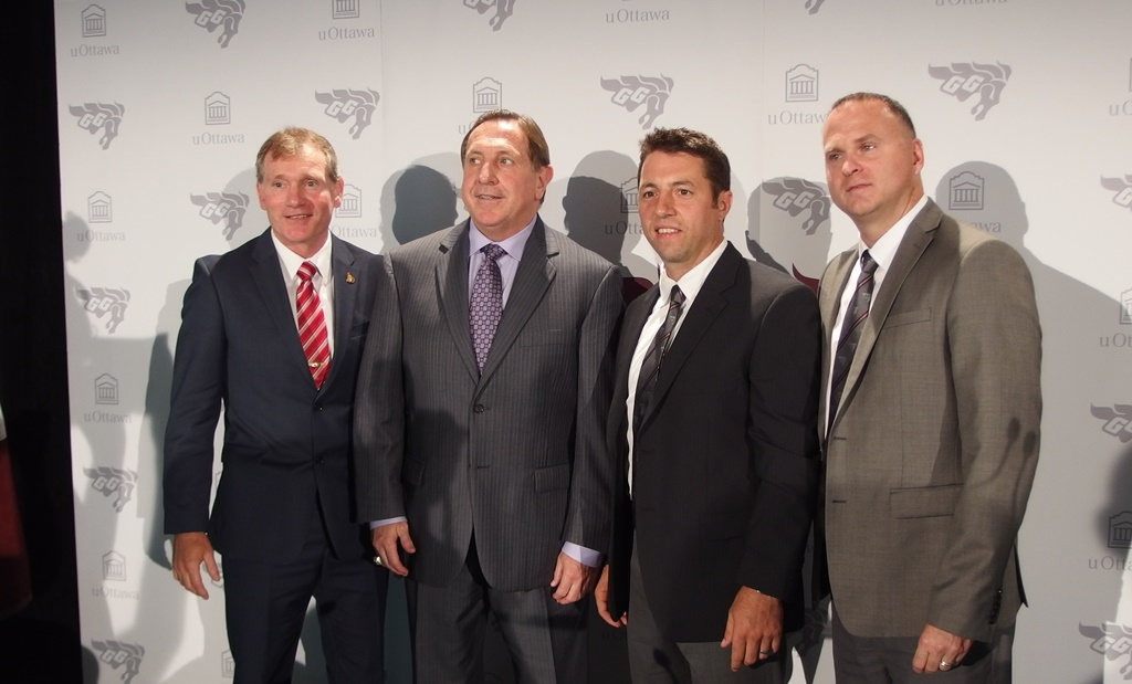 President of the Ottawa Senators Cyril Leeder; Special assistant to the Pittsburgh Penguins head coach Jacques Martin; Patrick Grandmaître; and uOttawa's director of sports services Marc Schryburt.