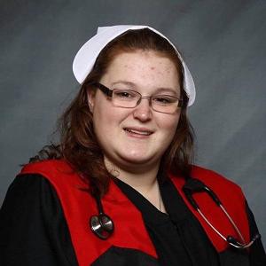 Chleo Lessard wearing a nurse's uniform