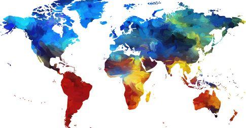 Carte du monde multicolore.
