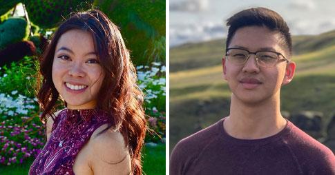 Portraits des co-fondateurs du programme COVID Performers: Heidi Li, à gauche, et David Zheng, à droite.