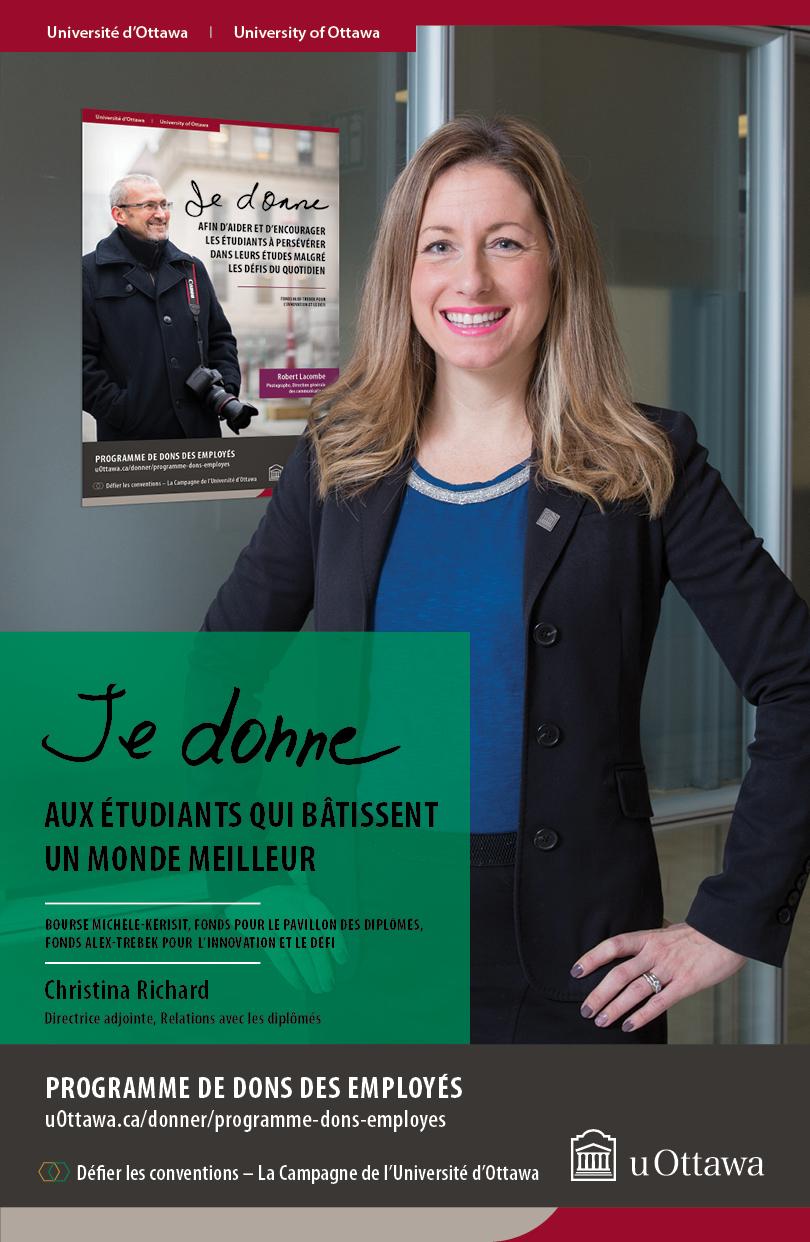 Affiche promotionnelle du Programme de dons des employés, sur laquelle on peut voir Christina Richard.