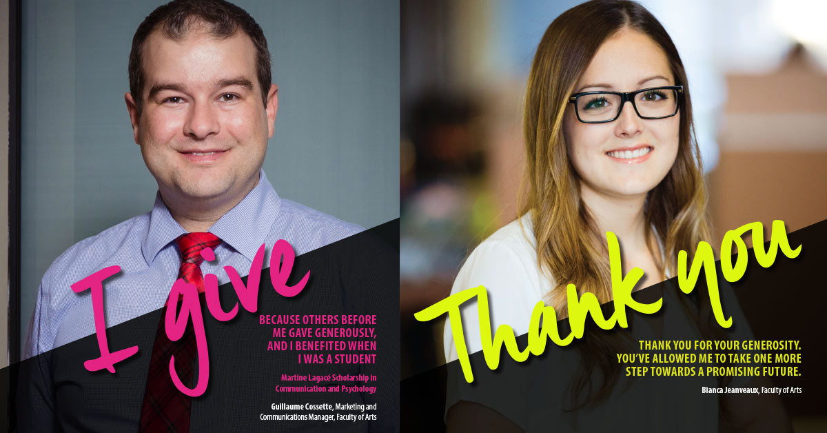 "on the left, a man wearing a tie on with ""I give"", and a woman with long hair and glasses on the right with ""Thank you"""