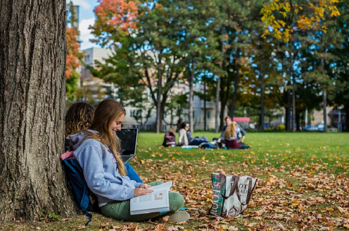 Students studying on Tabaret lawn.