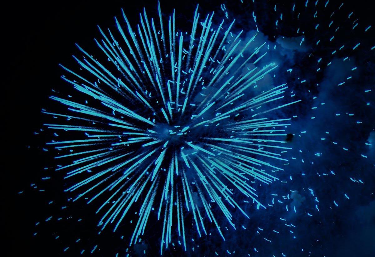Blue fireworks.