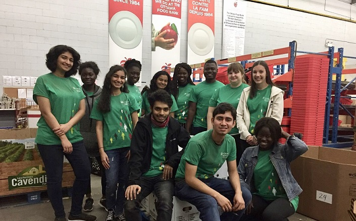 Group of student volunteers at the Ottawa Food Bank.