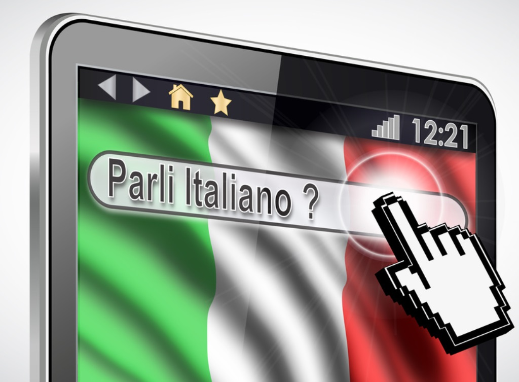 "Illustration of a tablet where the phrase ""parli italiano ?"" appears."