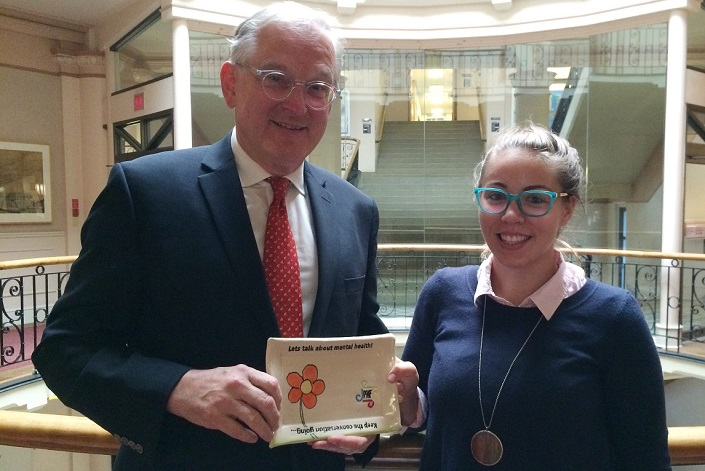 Jacques Frémont and Jolene Hansell inside Tabaret Hall with a #ConvoPlate.