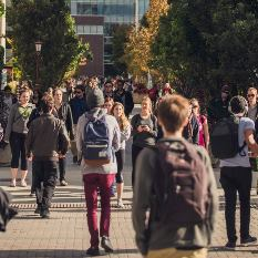 Several students walking