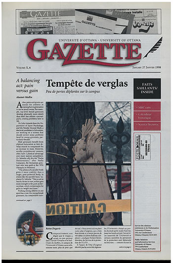 Front cover of uOttawa Gazette with image of a broken branch, January 27, 1998.