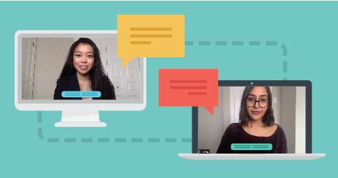 graphic of two computer screens with photos of students chatting with each other