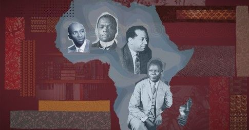 Illustration du continent africain dans lequel apparaissent des personnages d'origine africaine.