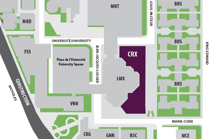 Carte du campus indiquant l'emplacement du Carrefour des apprentissages.