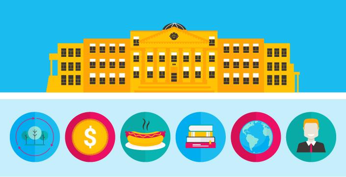 Illustration du pavillon Tabaret. Des images représentant différents aspects de l'Université se trouvent en-dessous.