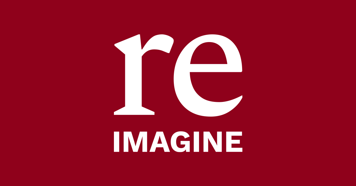 Reimagine campaign logo in white on red background
