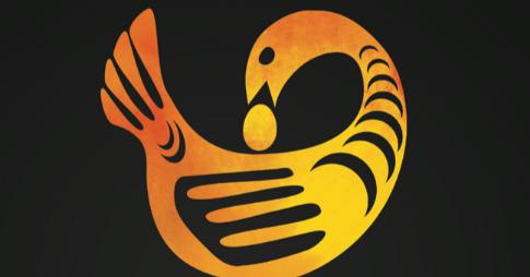Logo du Mois de l'histoire des Noirs :  Ses pieds vers l'avant et sa tête vers l'arrière, l'oiseau Sankofa réfléchit sur le passé afin de bâtir un avenir prometteur.