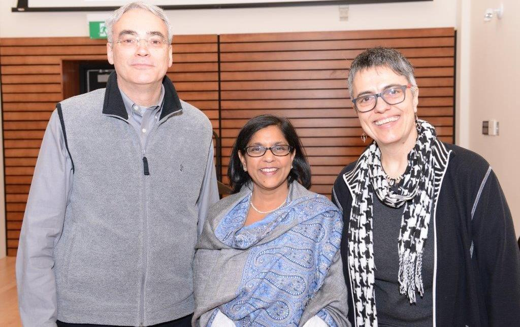 Gary Slater, associate vice-president of student affairs, with Sonya Nigam, director of the Human Rights Office, and Yolaine Ruel, senior policy advisor for accessibility at the Human Rights Office
